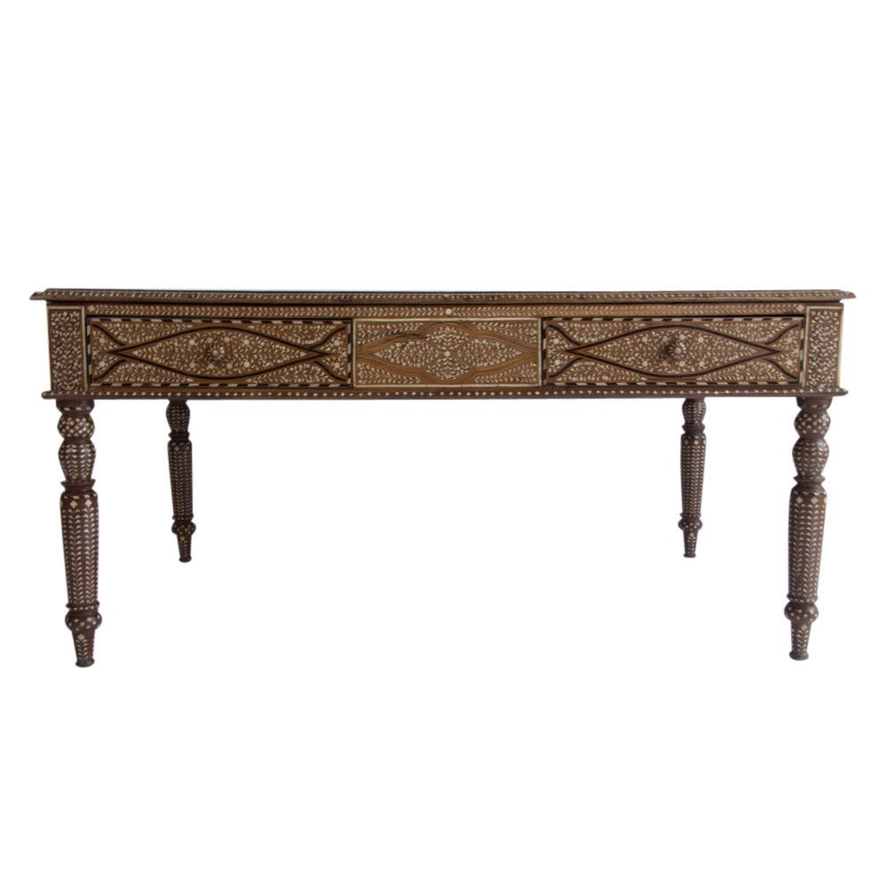 Anglo Indian Bone Inlaid Table DE COR Globally Inspired