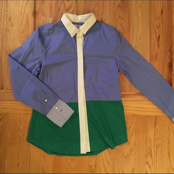 J.Crew color blocked dress shirt Color blocked button up from J.Crew. This has been worn once, in great condition. Small mark to R bottom corner of shirt. J. Crew Tops Button Down Shirts