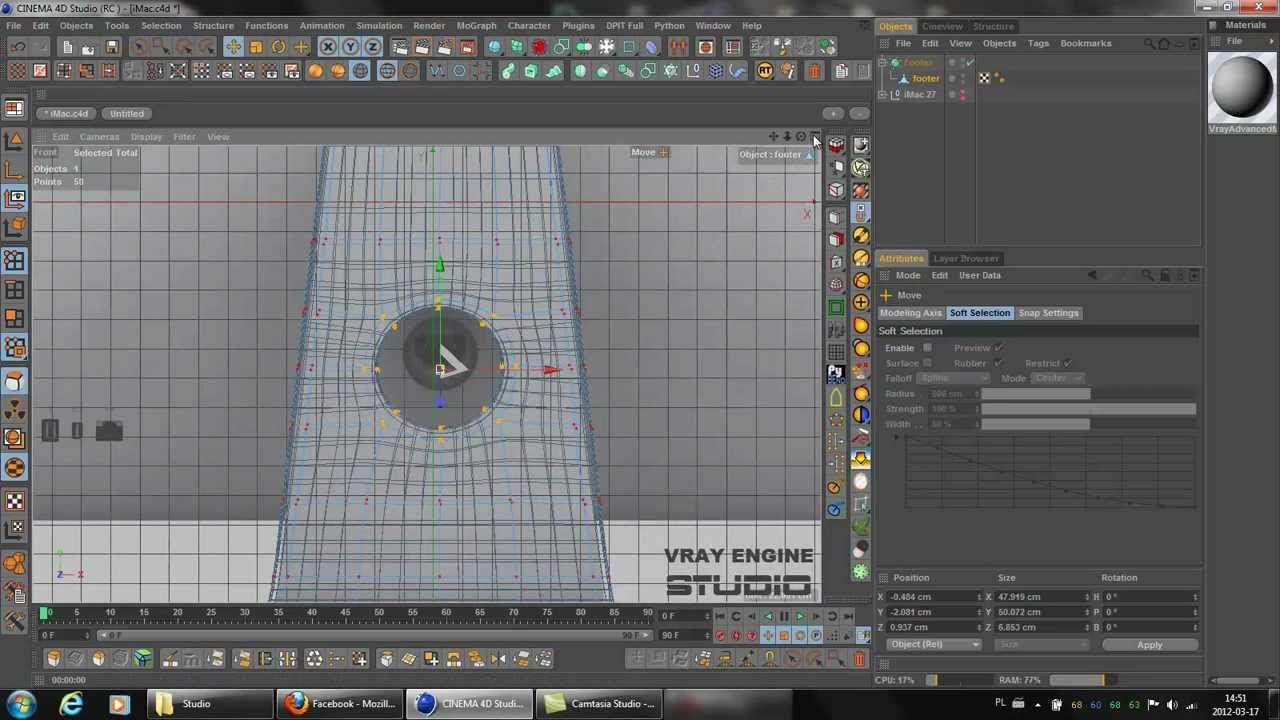 Cut a hole using a plugin Points to Circle - Cinema 4D