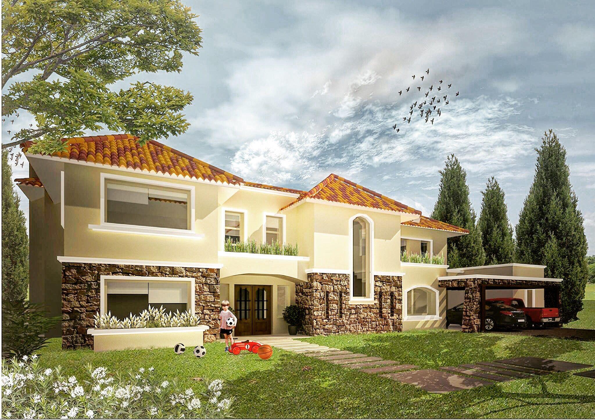 Residencia colonial con piedra Fachada tejas Casa colonial Front ...