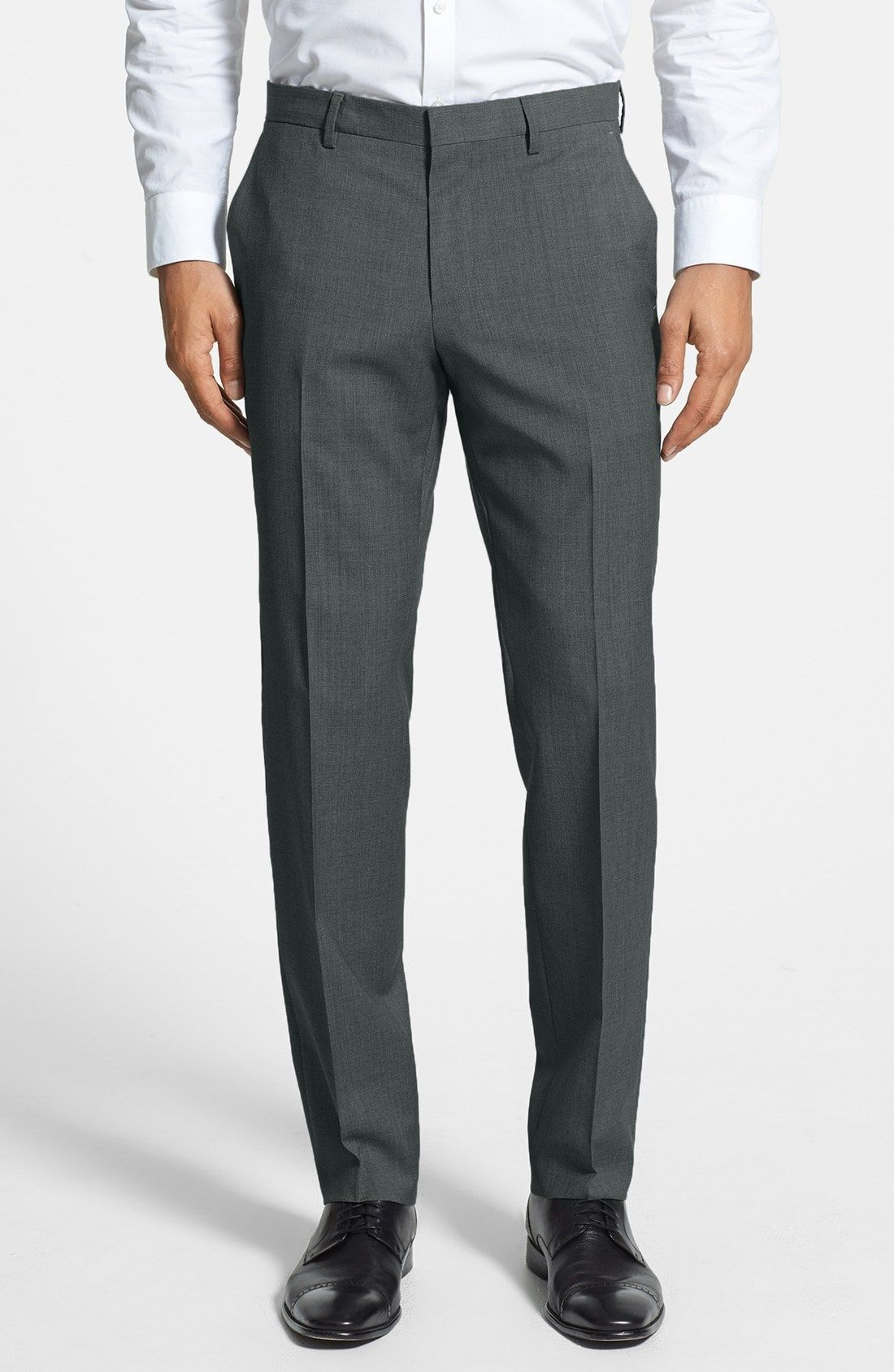 Boss genesis flat front trim fit wool trousers available