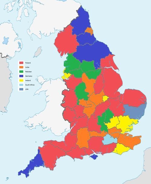 Second most mon country of birth in English counties Note that