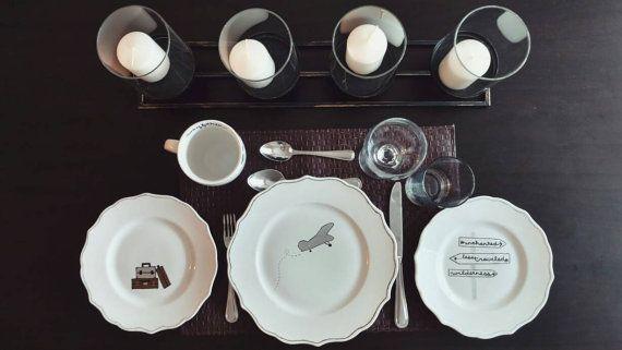 Travel-Themed Dinnerware Set  Dinner Plates  by CopilotCreations #sharpieplate #mug