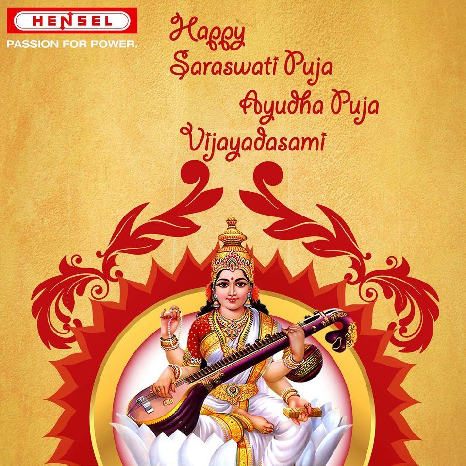 Happy Saraswati Puja Ayudha Puja And Vijayadasami Greetings