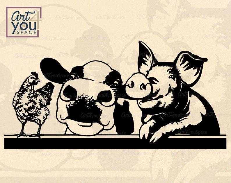 Farm Animals Clipart Svg Files For Cricut Pig Cow Emu Donkey Etsy Animal Clipart Farm Animals Digital Artwork