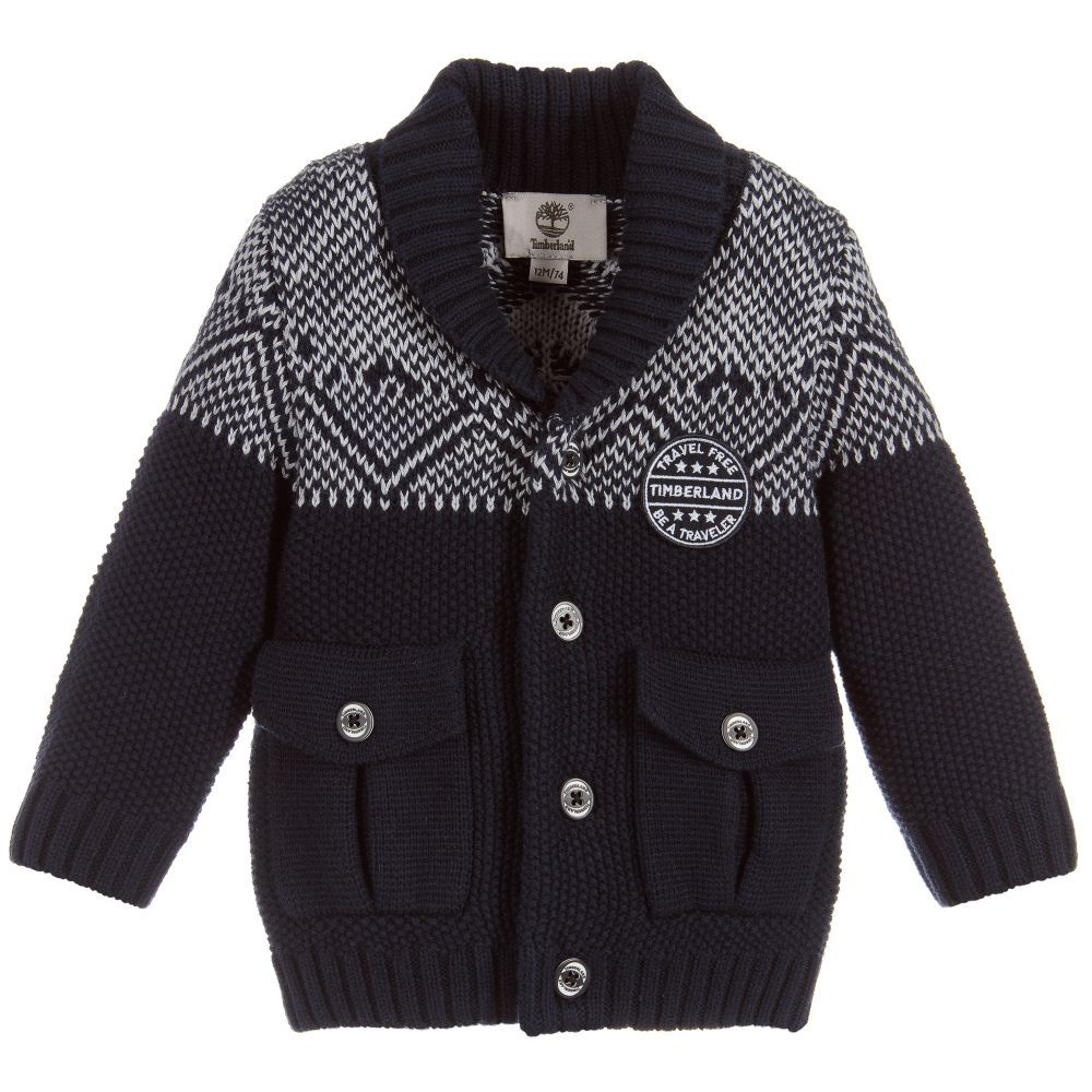 Boys Blue Cotton Cardigan for Boy by Timberland. Discover