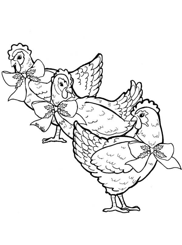 French Three French Hens Coloring Page Chicken Coloring Pages