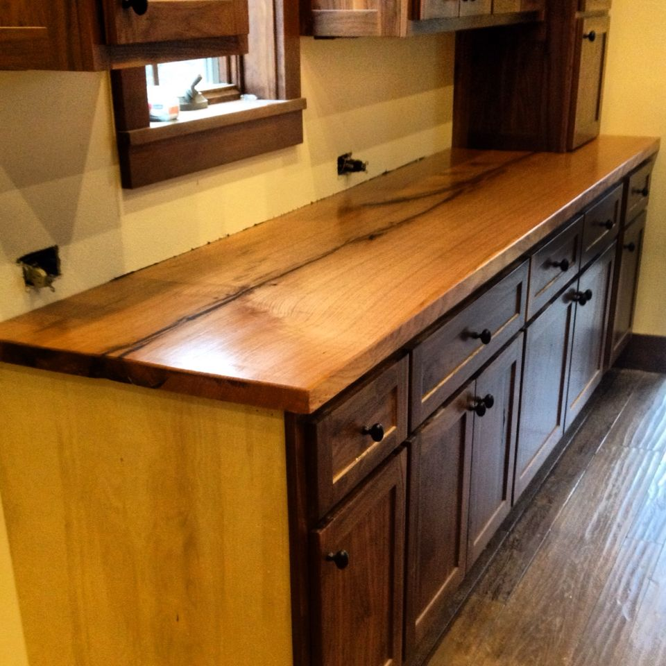 Red Oak Kitchen Cabinets: Red Oak Slab Countertop With Black Walnut Cabinets. Built