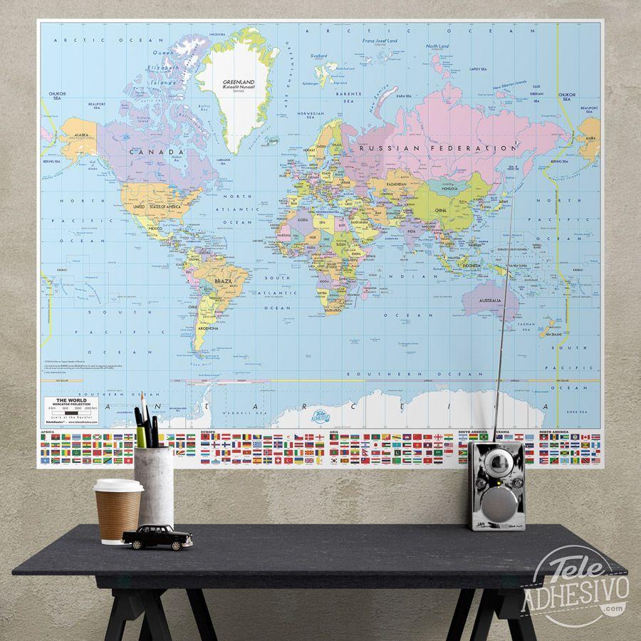 Vinilos decorativos p ster adhesivo mapamundi con for Vinilo mapa del mundo
