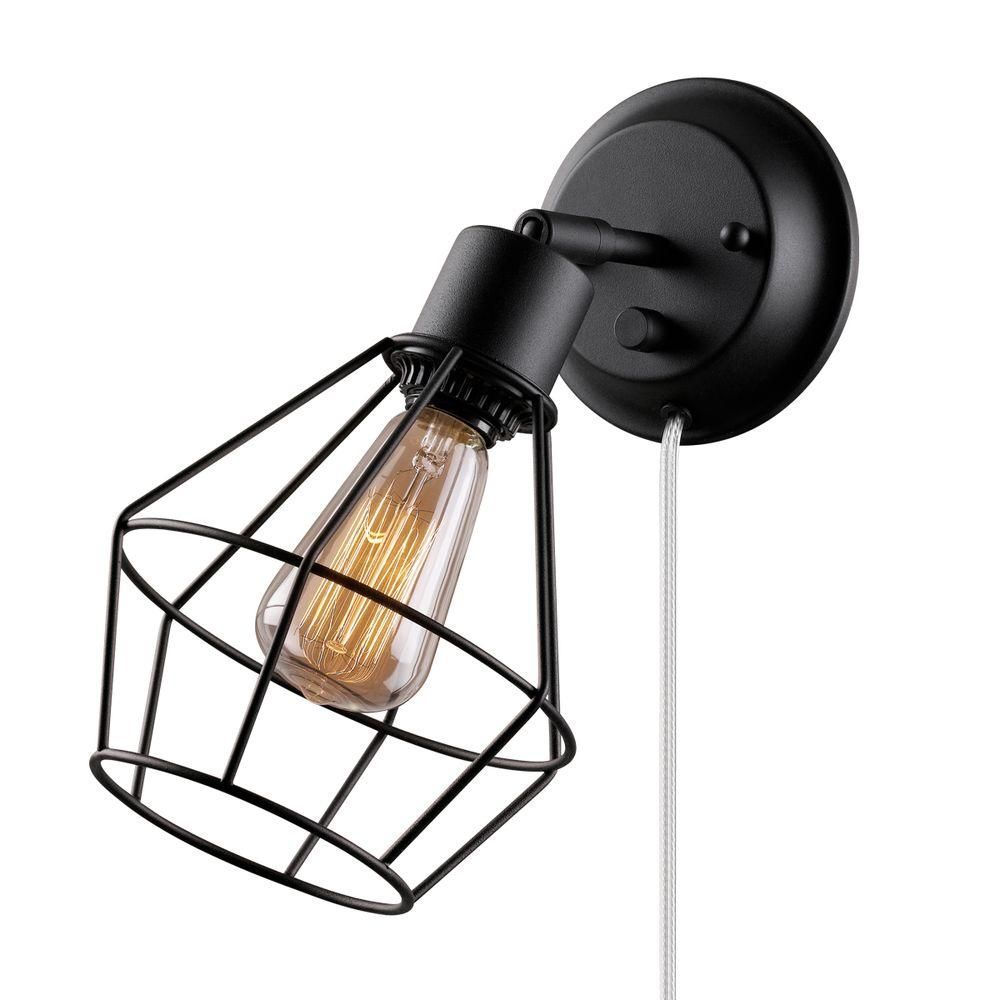 Globe Electric 1 Light Black Shade Plug In Wall Sconce With Clear 6 Cord