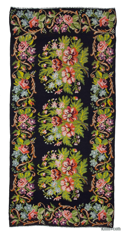 Multicolor Vintage Handwoven Moldovan Kilim Area Rug 6 4 X 13 3