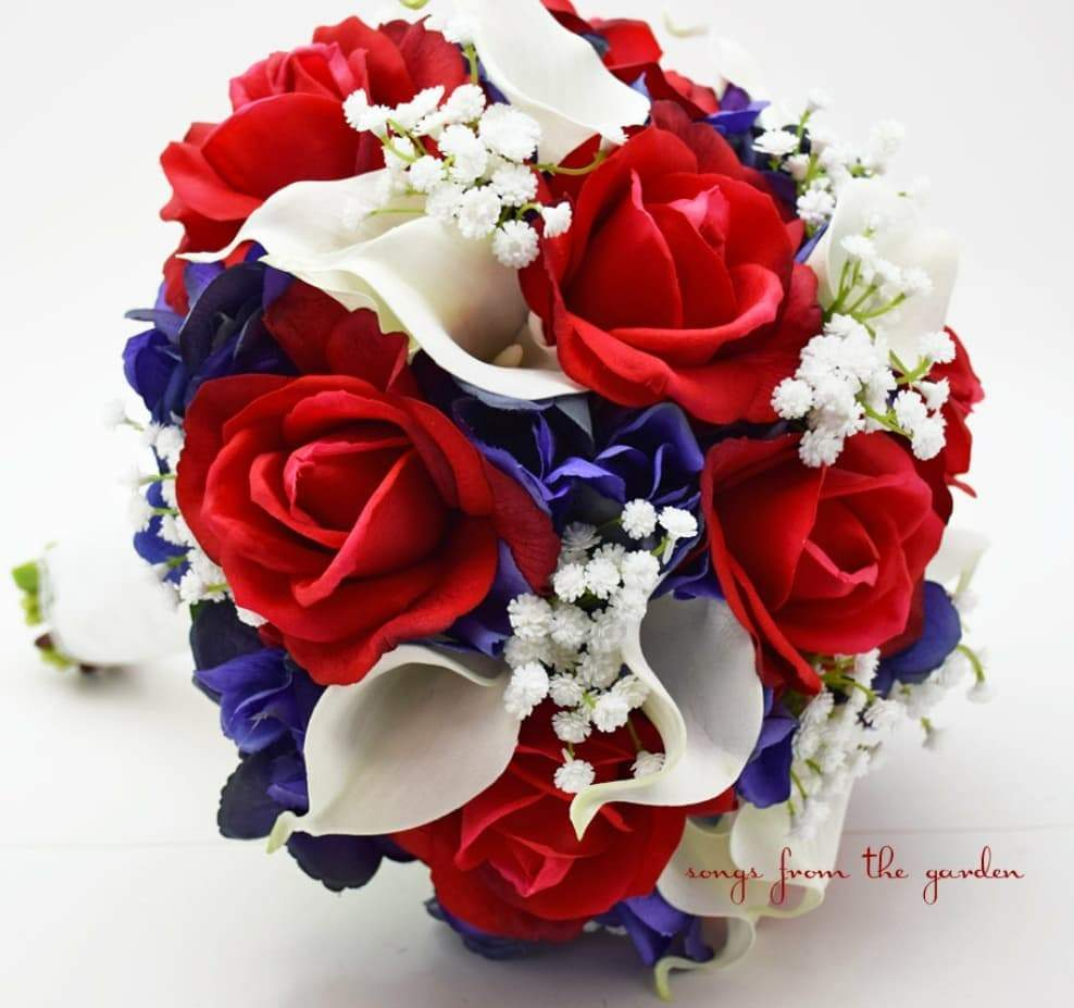 Red white and blue bouquet bride wedding needs pinterest
