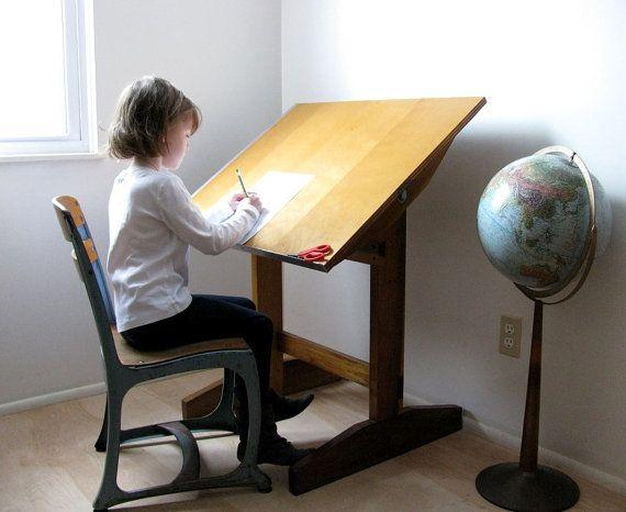 Wonderful Vintage Drafting Table Children S Artist Table Circa