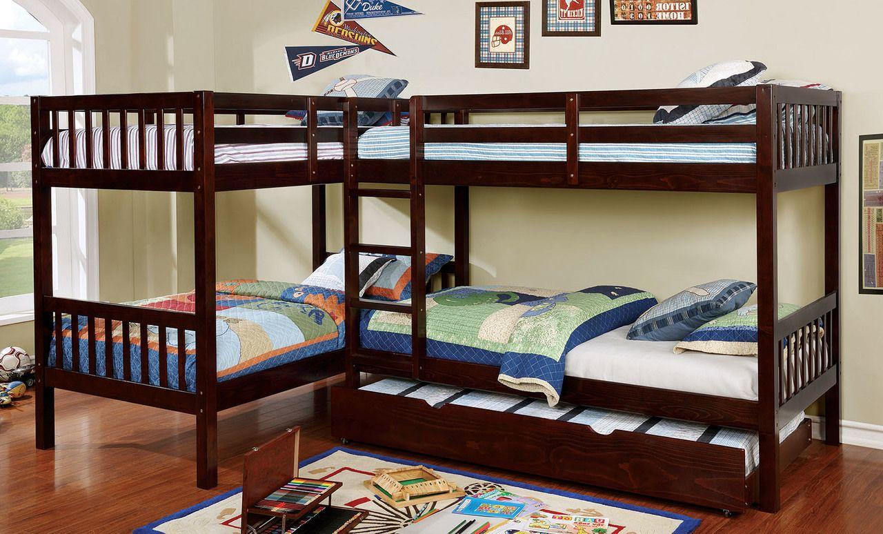 L Shaped Quadruple Wood Twin Bunk Bed In Dark Walnut Bunk Bed