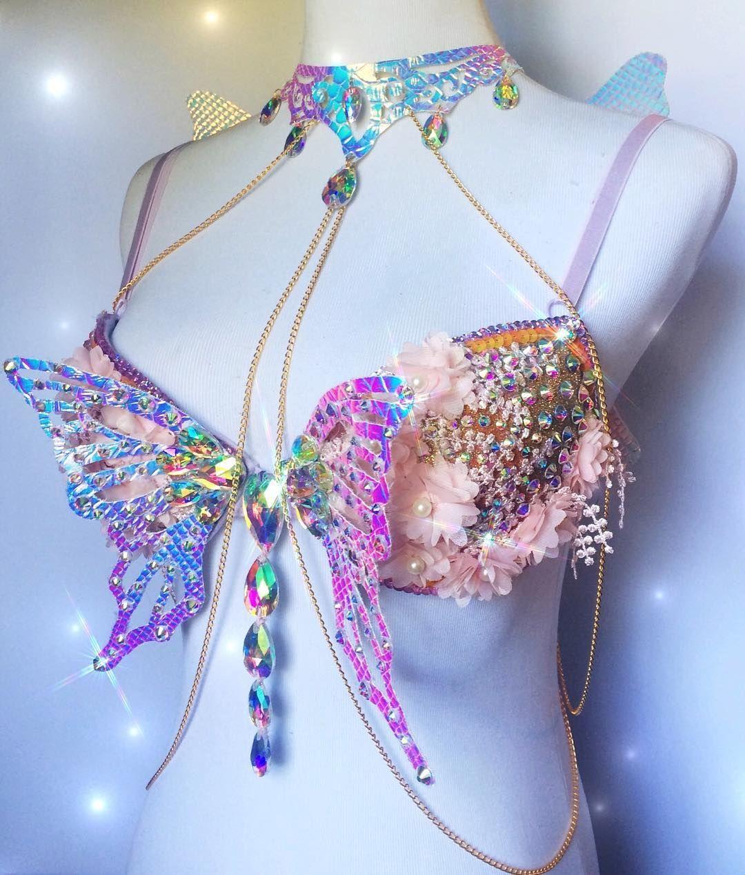 Purple Blue Mermaid Sparkle Rhinestone Crystal Gem Rave Festival Bra