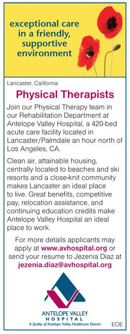 Physical Therapists job in Lancaster California NEWS-Line for - physical therapist job description