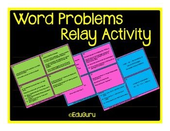 This is the way to go if you would like your students to practice how to solve word problems involving basic operations.My students LOVE relay games like this and they keep asking for more!The relay game includes 32 cards (16 question and 16 answer cards).