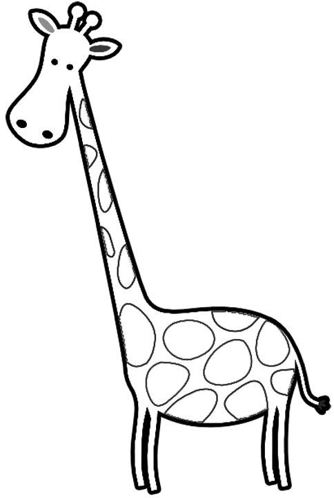 Genial Free Coloring Book Of Giraffes | Cartoon Giraffes Coloring Page .