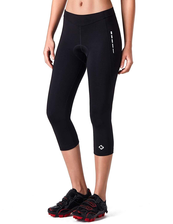 For Sport 3//4 Padded Womens Cycling Tights Black Bike Cycle Ride Capri Pants