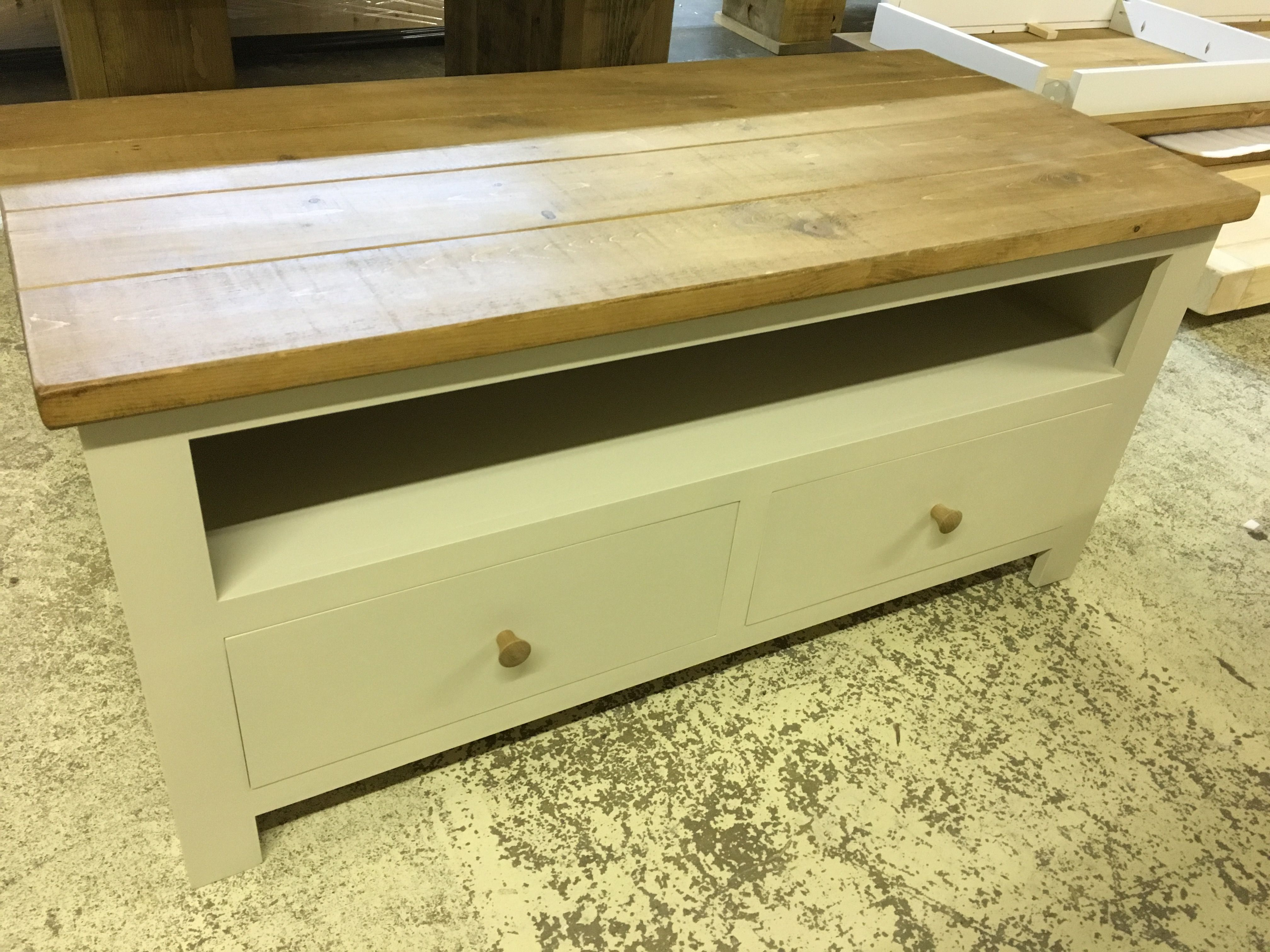 Bespoke TV Unit Painted In Fu0026B Off White With A Rustic Plank Top. Cobwebs  Furniture