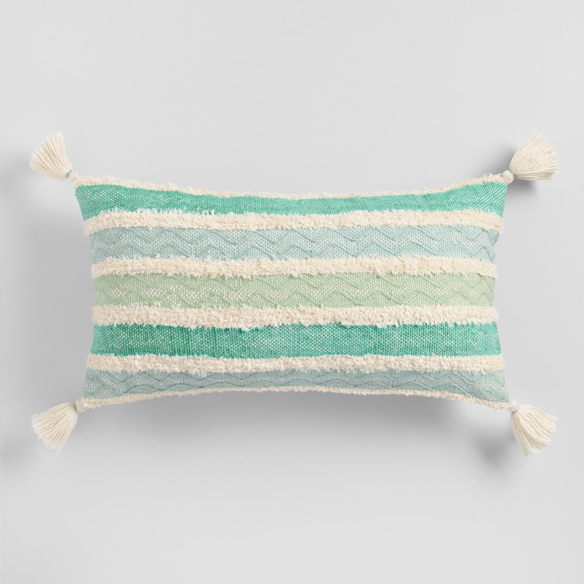 Oversized Aqua Stripe Indoor Outdoor Patio Lumbar Pillow Blue By