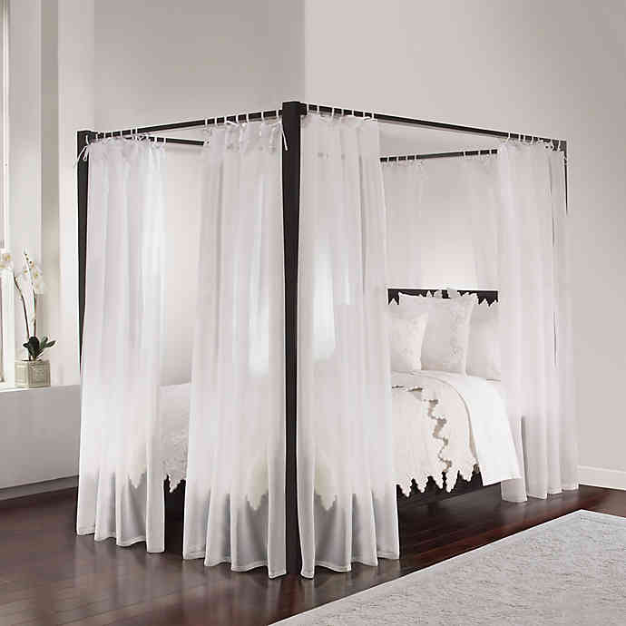 Tie Sheer Bed Canopy Curtain Set In White Bed Bath Beyond