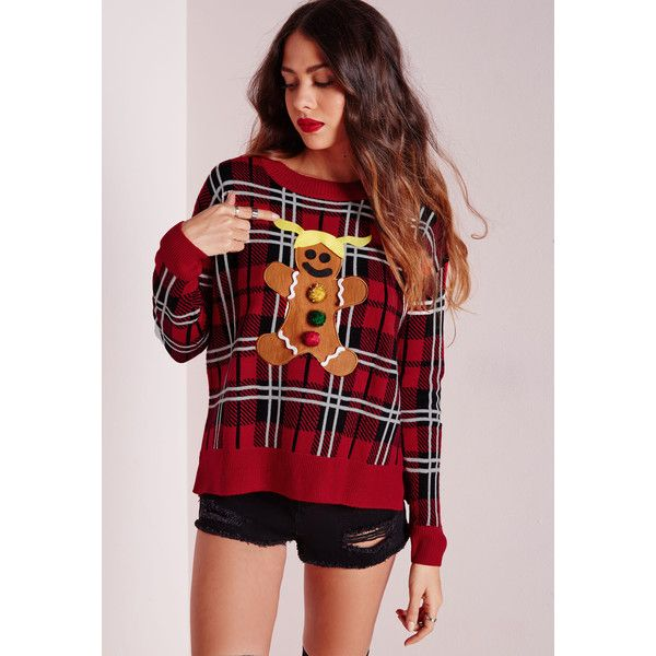Missguided Gingerbread Man DIY Knitted Christmas Jumper (€24) ❤ liked on Polyvore featuring tops, sweaters, red, christmas tops, holiday sweaters, red knit sweater, christmas sweater e evening tops