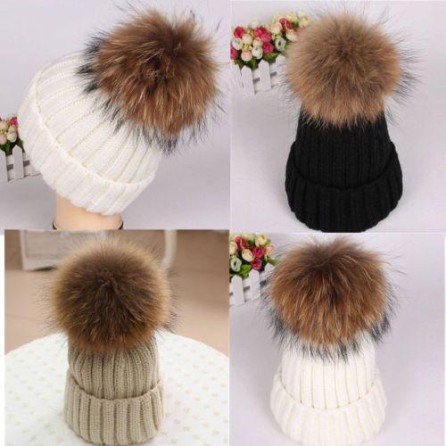 63db5cd13756d Large 15cm Ball Women Hat Winter Raccoon Fur Pom Knit Beanie Ski Cap Bobble  Hat
