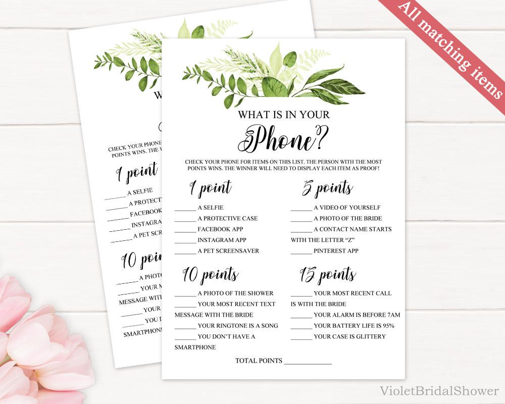 new photos 1ab4a c6d27 Greenery What is in Your Phone Game Template Printable ...
