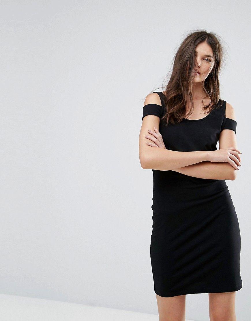 Noisy May - Figurbetontes Kleid mit Schulterverzierung - Schwarz ...