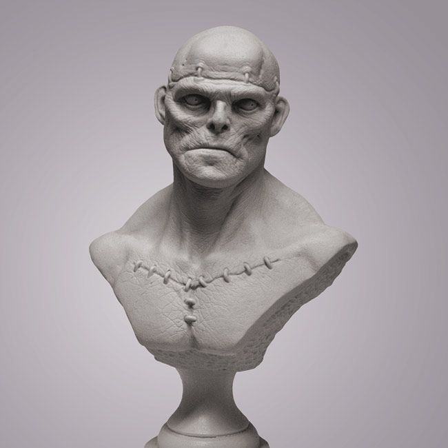 Man-made is the third bust in the undead series. He is approximately 8.25 inches tall (including pedestal) and is cast in tough grey resin to show off his details.
