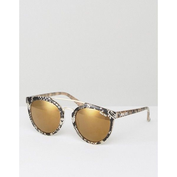 da7d63f961 Miss KG Bridge Bar Round Sunglassed In Snake Print (30 CAD) ❤ liked on Polyvore  featuring accessories
