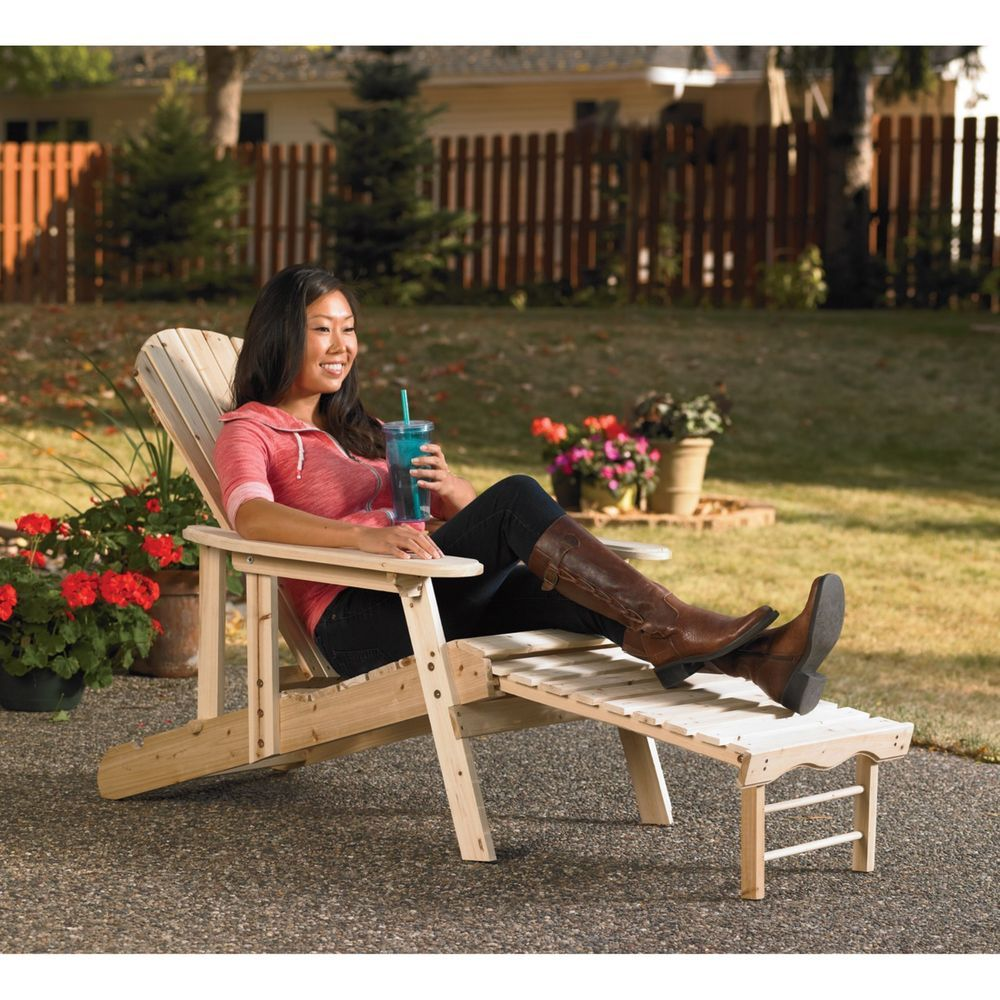 Adirondack Chair Recliner Patio Lounger Unfinished Cedar/Fir Wood With  Footrest $96.91 Free Shipping