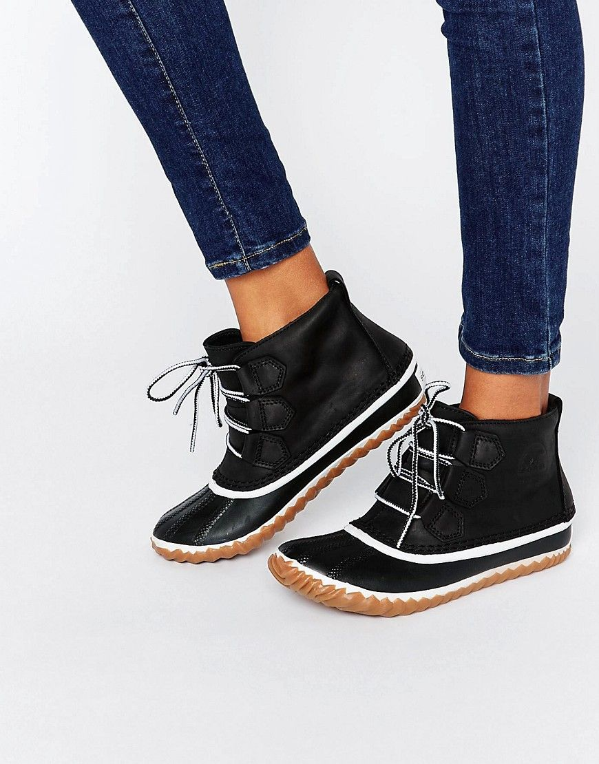 On Sale Online Black Sorel Ankle Boots Leather Out N About Women's Canada Online