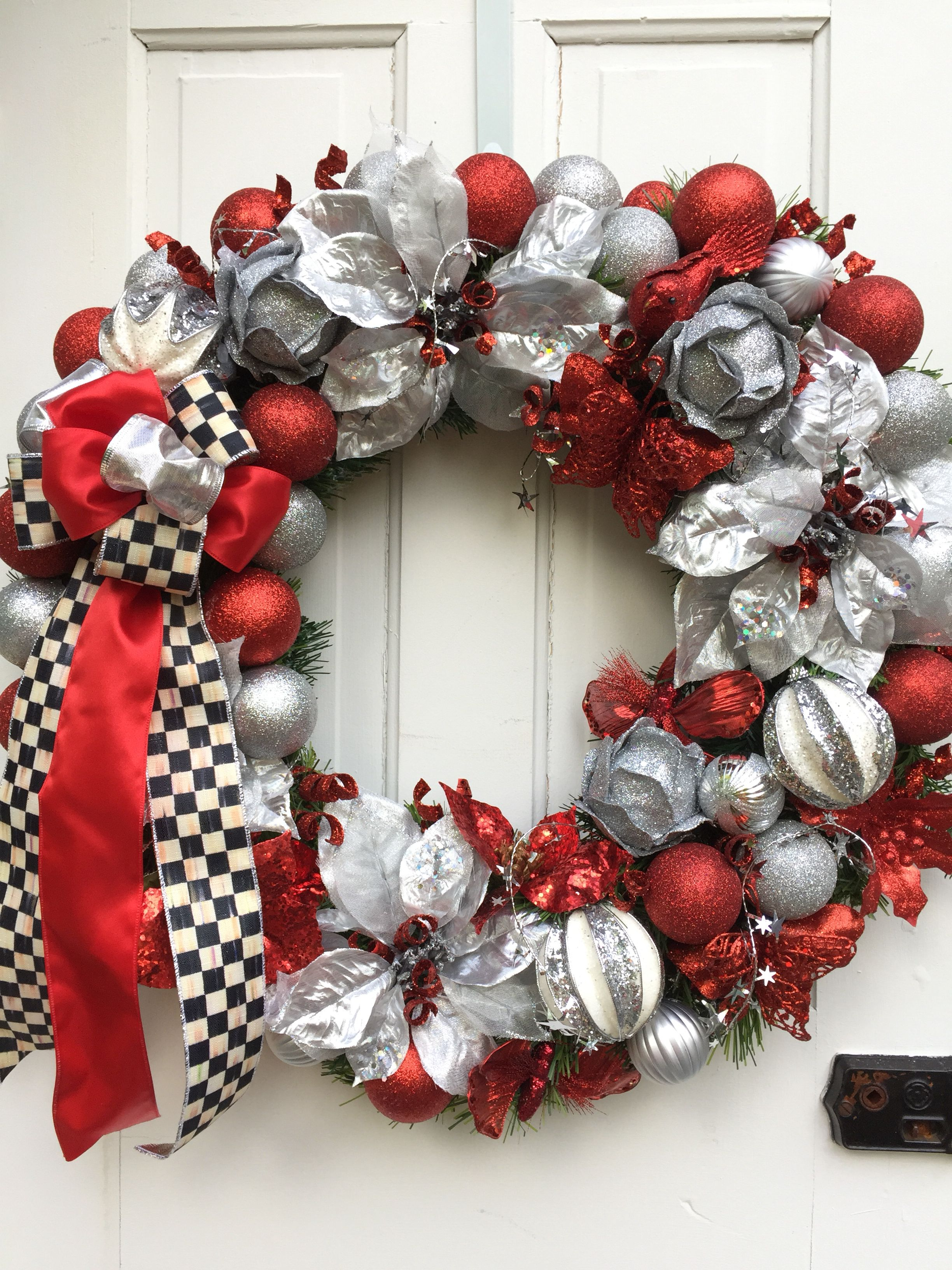 Red And Silver Ornaments With Black White Ribbons