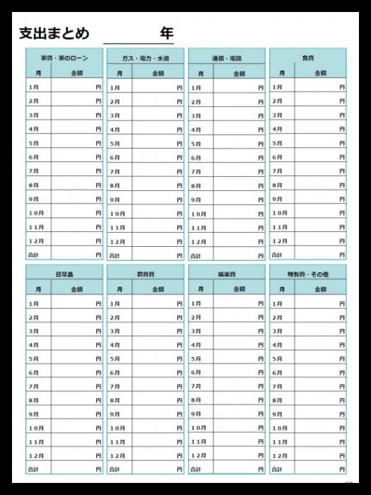 年間支出まとめシート テンプレート 家計簿 テンプレート 家計簿 書き方