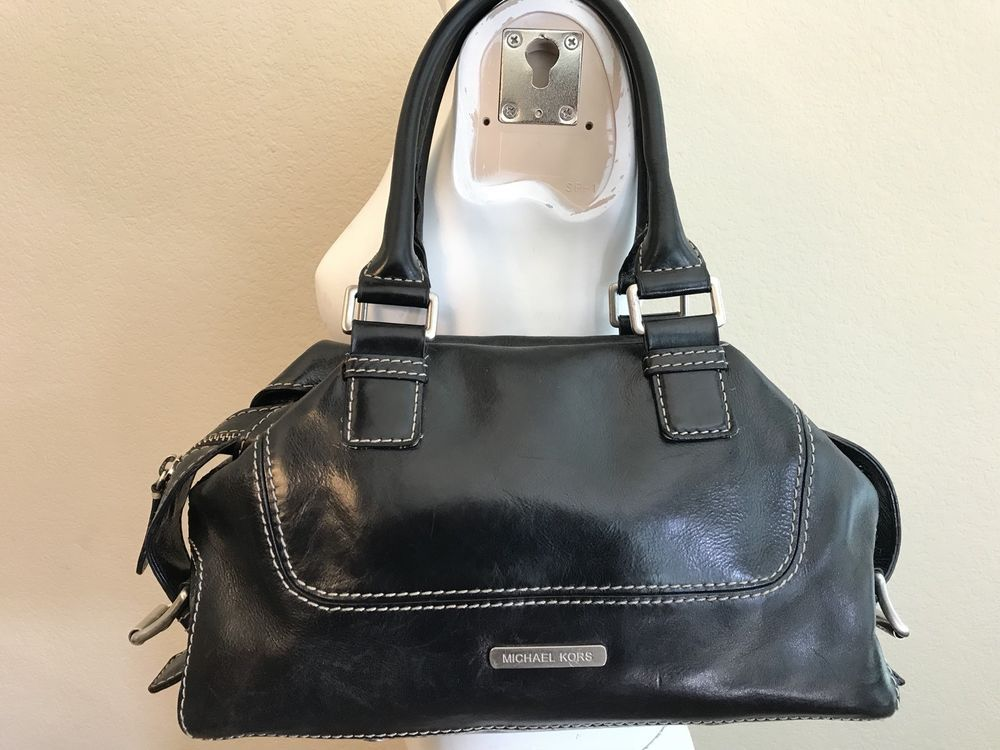 8116784a764d Vintage Michael Kors Purse Black Leather Satchel Bag Shoulder Silver  Hardware MK #MichaelKors #Satchel