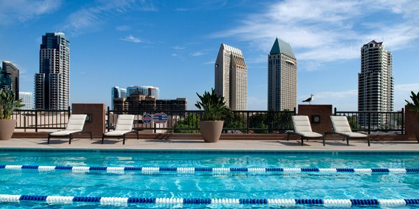 Broadway Athletic and Swim Club with a spectacular view of Downtown San Diego