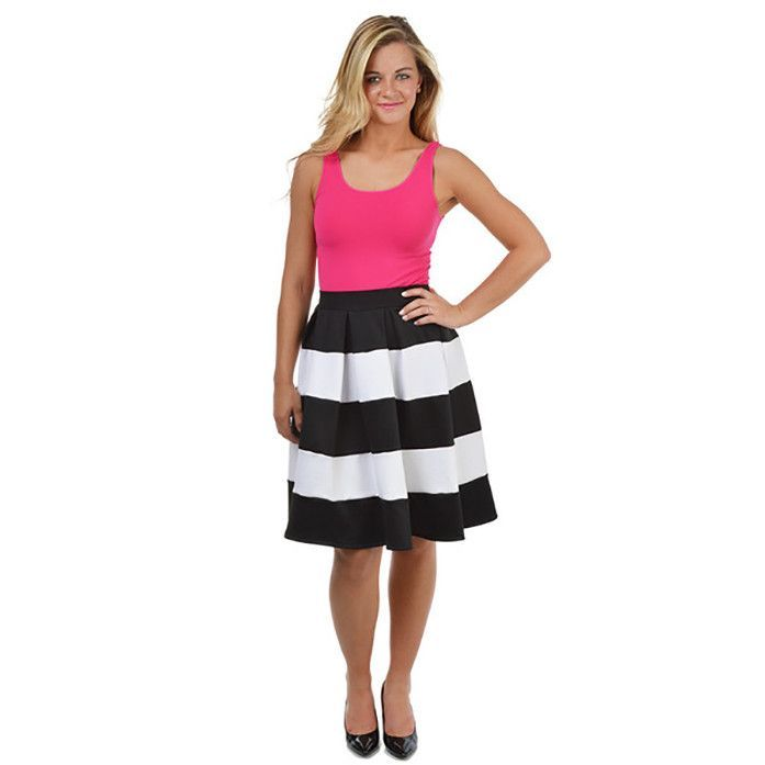 Black and White Striped High Waisted Knee Length Pleated Skirt