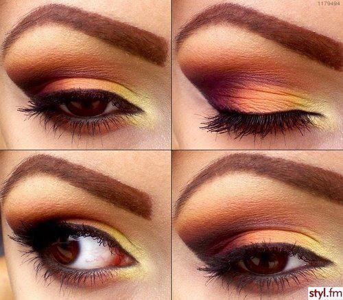 maquillage orange yeux marrons
