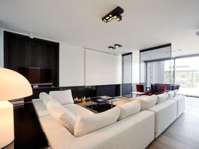 Moderne woonkamer • haard • strak interieur • glazen wanden ...