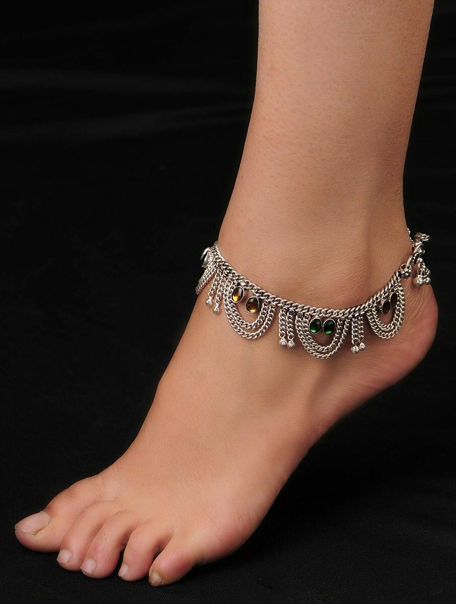 Silver Latest Traditional Anklets Green Glass Stone