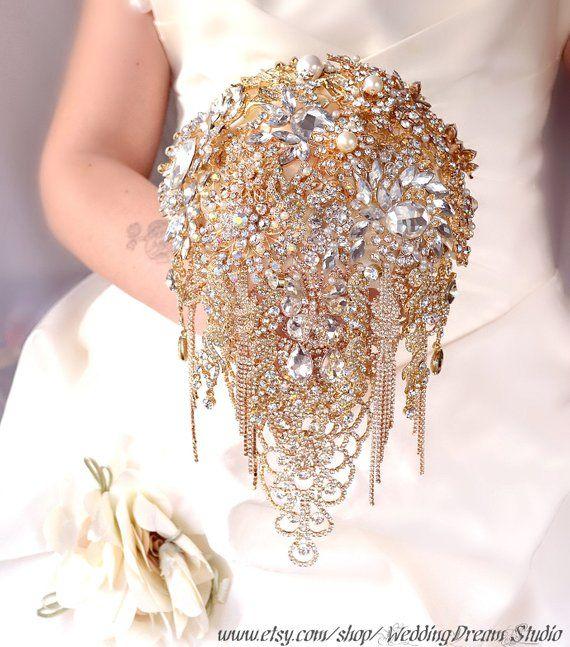 Wedding Bouquet Brooch Bouquet Bridesmaids Bouquet Gold Bridal