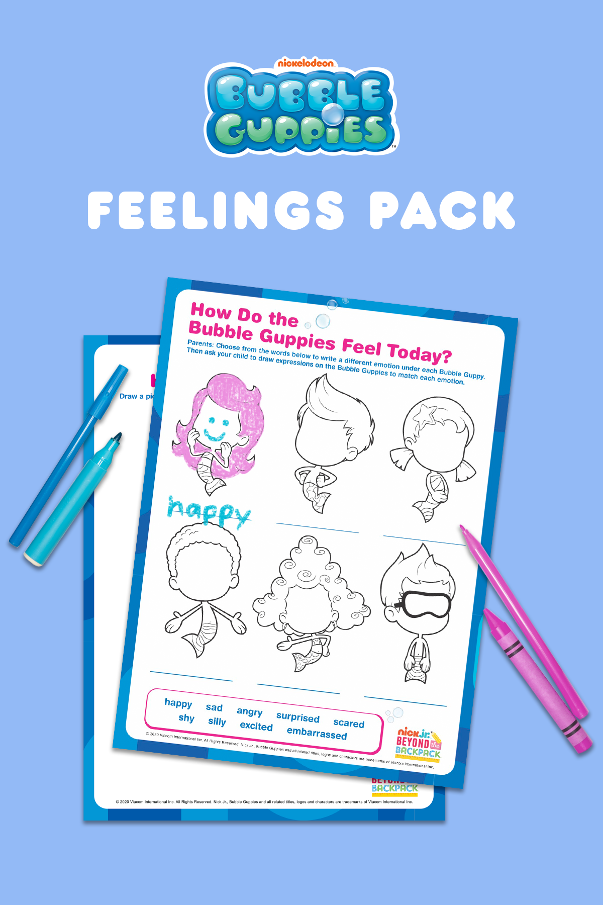 All The Feelings Bubble Guppies Activity Pack Bubble Guppies Feelings Activities Activity Sheets For Kids