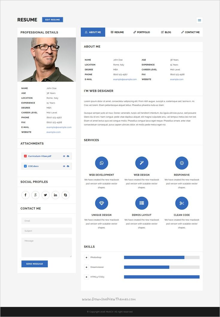 MotiCV - Resume \/ CV HTML5 Template Resume cv - resume website template