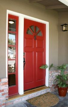 Deep Red Front Door With White Trim And Grey Walls The Red Colour
