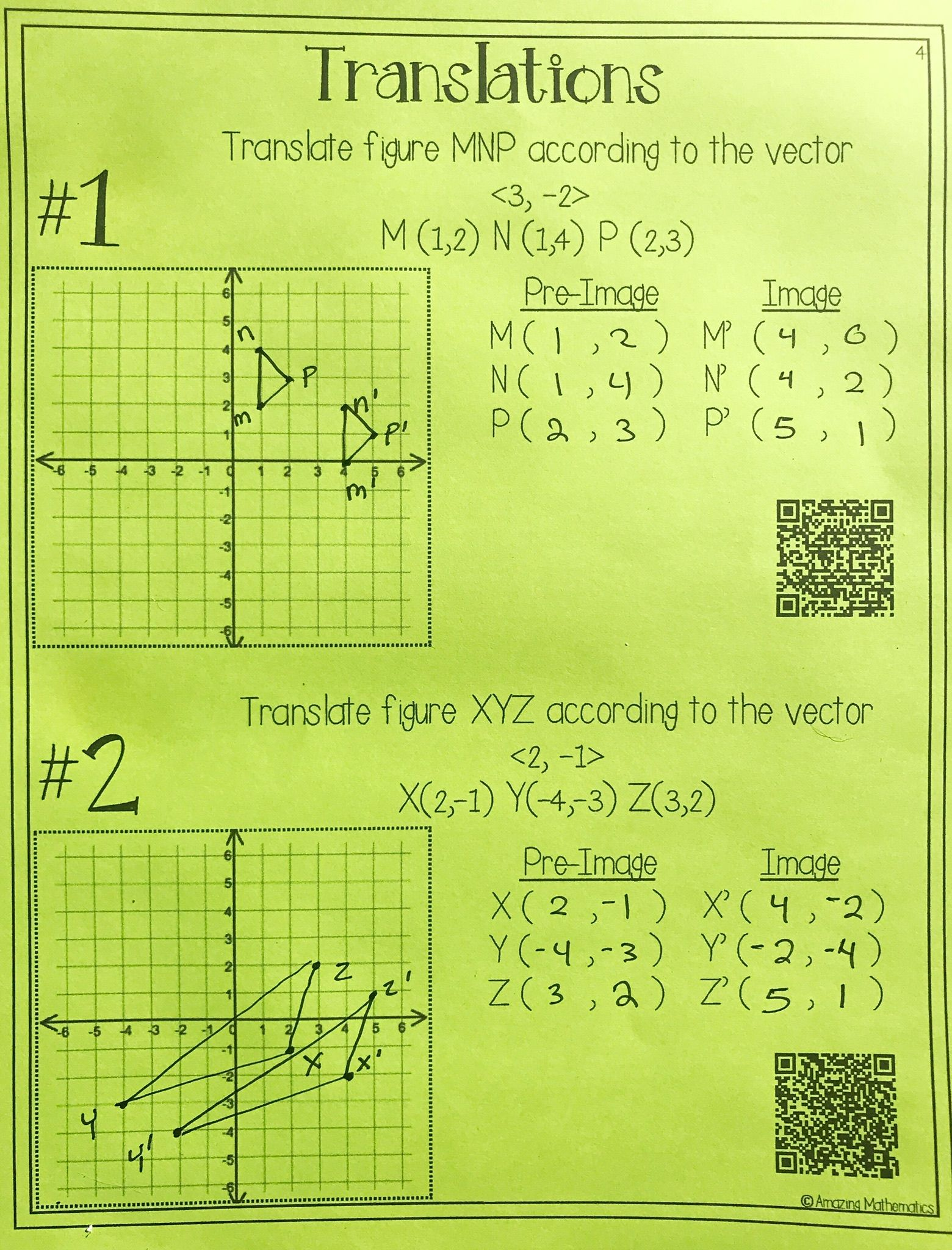 Hs Geometry Transformations Workbook Translations
