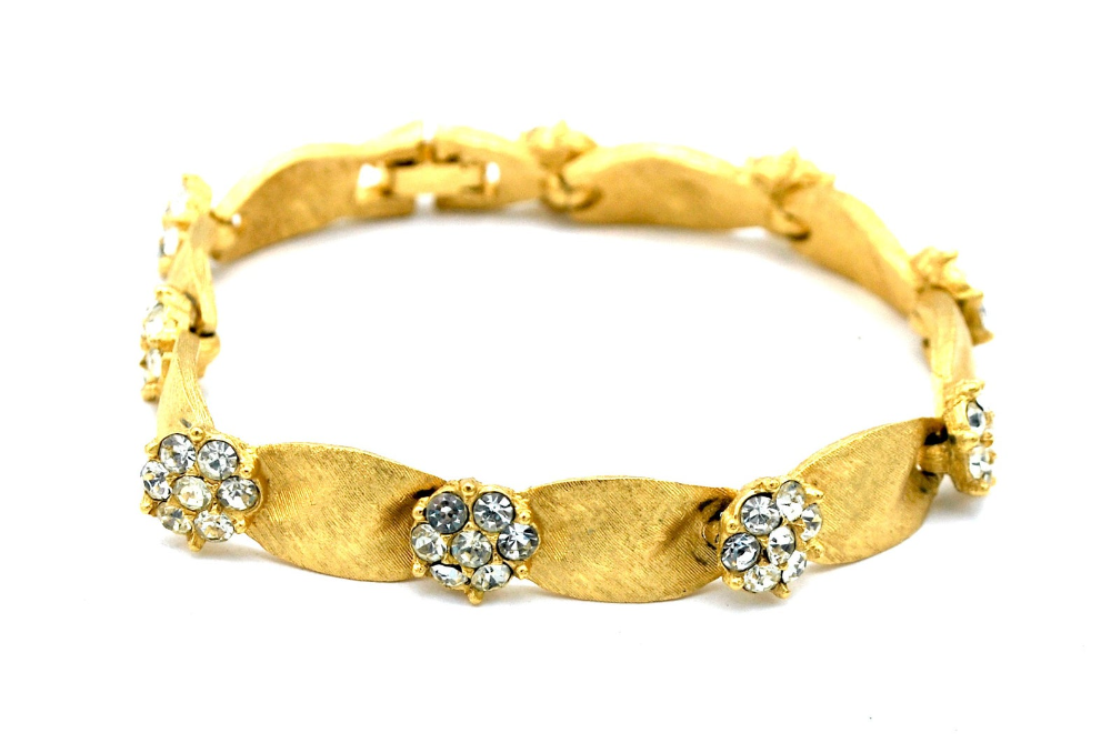 Mint Condition Blue on Gold Tone Metal Crown Trifari Thermoset Bracelet Fold Over Clasp
