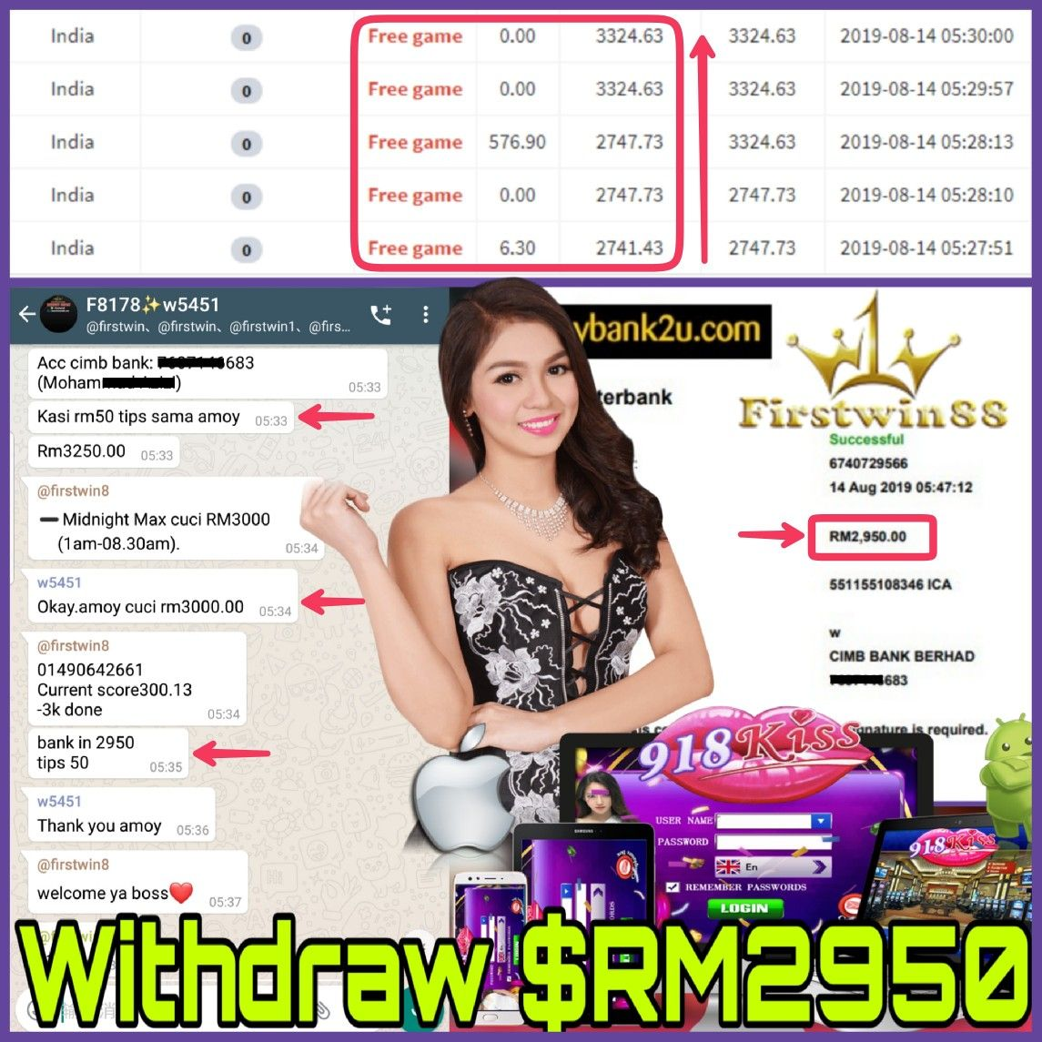 Congratulations to #Firstwin88 #918Kiss MemberF8178 SlotGame #India Won PriceRM2950 #GameBonus explore Pinterest