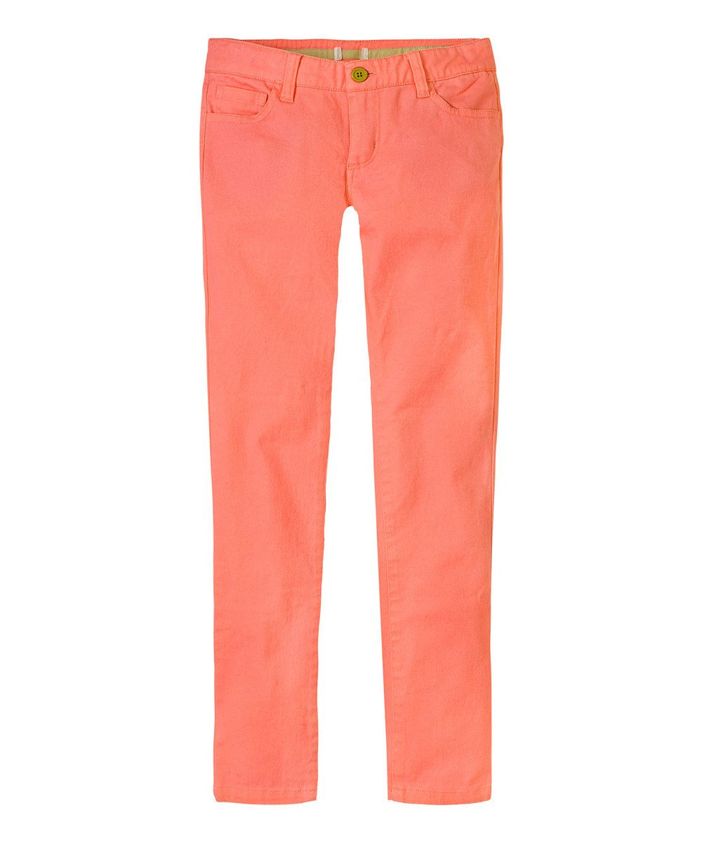 Another great find on #zulily! Neon Peach Pink Skinny Jeans - Girls by RUUM #zulilyfinds. $12.99, 5-12